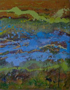 Poured Landscape, 2016, mixed media, 28x22